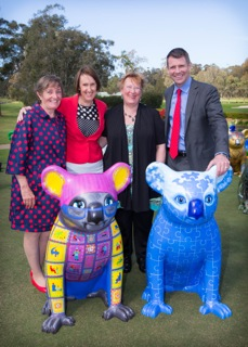 AHA's Margret Meagher, Leslie Williams MP, artist Kerry Smith-Taughkin, Mike Baird, NSW Premier